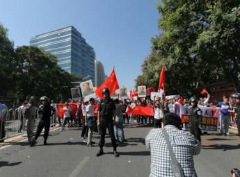 9.18当天 日本驻中国使馆前再现抗议人群